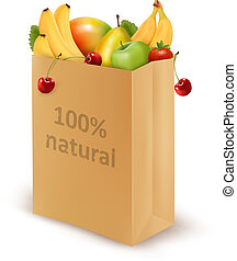 100 percent natural on a paper bag full of fresh fruits. Concept of diet. Vector