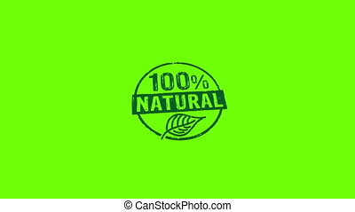 100 percent natural stamp and stamping isolated animation