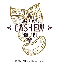 100 percent organic cashew nut label with leaves for all...