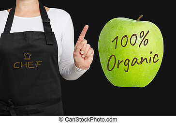 100 percent Organic concept is shown by chef