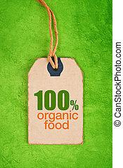 100 Percent Organic Food on Price Label Tag