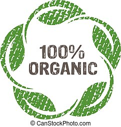 100 percent organic logo label. Vector graphic design