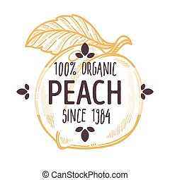 100 percent organic peach label with whole ripe juicy fruit ...