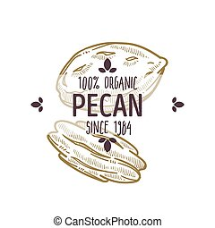 100 percent organic pecan nut shelled and cracked open label...