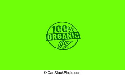 100 percent organic stamp and stamping isolated animation