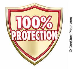 100 percent percent, oltalom, pajzs, biztonság, biztonság, biztosítás