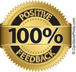 100 percent positive feedback golden label, vector ...