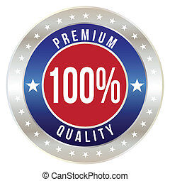 100 percent premium quality badge, vector format