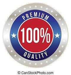 100 percent premium quality badge, vector format