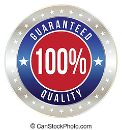 100 percent quality guaranteed badge, vector format