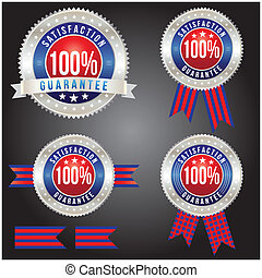 100 percent satisfaction guarantee badge, vector format