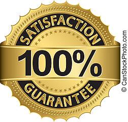 100 percent satisfaction guarantee golden sign with ribbon, vector