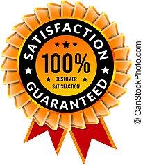 100 percent satisfaction guaranteed. Badge with ribbon template. Vector illustration