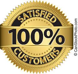 100 percent satisfied customers golden label, vector...