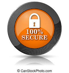 100 percent secure icon - Shiny glossy icon with white...