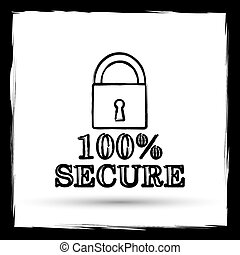 100 percent secure icon. Internet button on white...