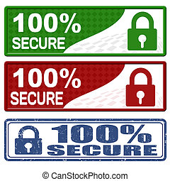 100 percent secure icons and grunge stamp