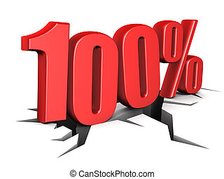 100 percent - 3d illustration of 100 percent sign over white