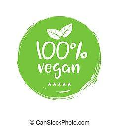 100 percent vegan logo vector icon. Vegetarian organic food label badge with leaf. Green natural vegan symbol