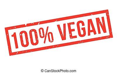 100 percent vegan rubber stamp on white. Print, impress,...