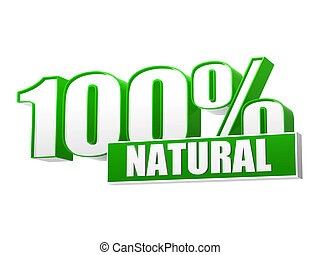 100 percentages natural in 3d letters and block