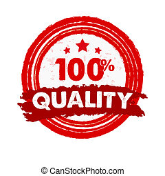 100 percentages quality and stars, grunge drawn circle label