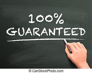 100 percento, guaranteed, parole, scritto, vicino, mano