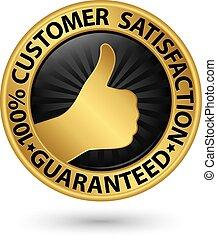 100 percento, soddisfazione cliente, guaranteed, dorato, segno, con, nastro, vettore, illustrazione