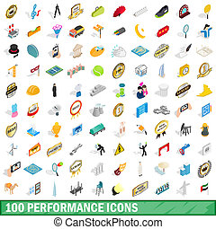 100 performance icons set, isometric 3d style