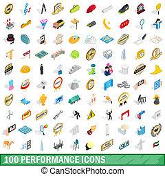 100 performance icons set, isometric 3d style