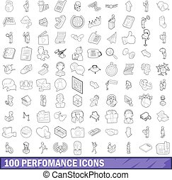 100 performance icons set, outline style