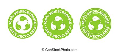 100 persent biodegradable recycle stamp. Vector reusable plastic bio package logo icon set. Eco sign