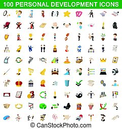 100 personal development icons set in cartoon style for any design vector illustration