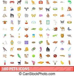 100 pets icons set, cartoon style