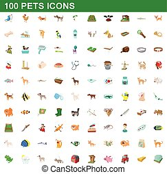 100 pets icons set, cartoon style