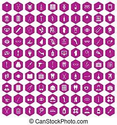 100 pharmacy icons hexagon violet