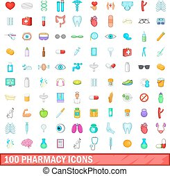 100 pharmacy icons set, cartoon style