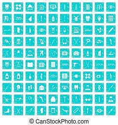 100 pharmacy icons set grunge blue