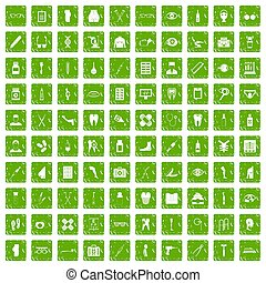 100 pharmacy icons set grunge green
