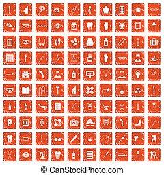 100 pharmacy icons set grunge orange