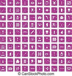 100 pharmacy icons set grunge pink