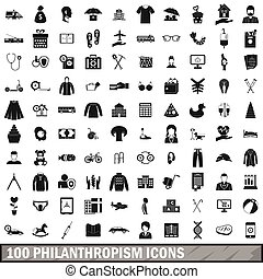 100 philanthropism icons set, simple style
