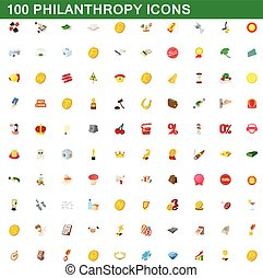 100 philanthropy icons set, cartoon style