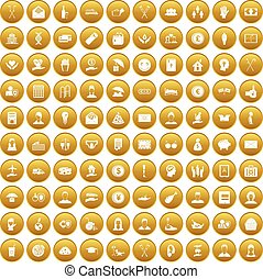 100 philanthropy icons set gold - 100 philanthropy icons set...