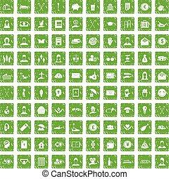 100 philanthropy icons set grunge green - 100 philanthropy...