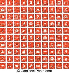 100 philanthropy icons set grunge orange - 100 philanthropy...