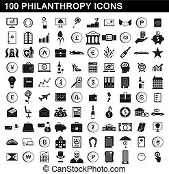 100 philanthropy icons set, simple style