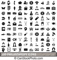 100 philanthropy icons set, simple style - 100 philanthropy...