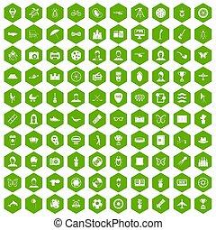 100 photo icons hexagon green
