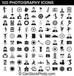 100 photography icons set, simple style